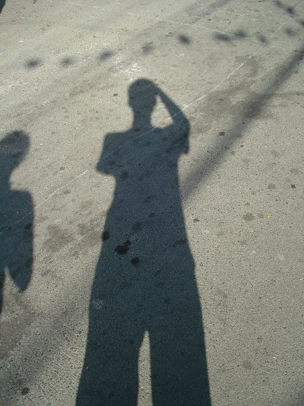 Being playful with my shadow during the La Loma Lechon Festival