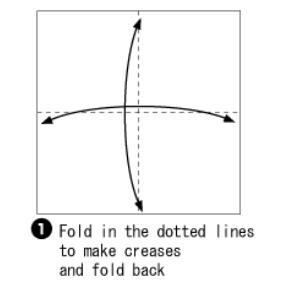 Bước 1: Gấp tờ giấy lại làm bốn sau đó mở ra để tạo nếp gấp