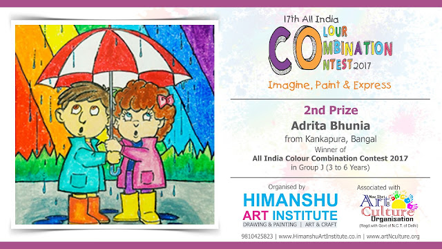 2nd Prize Winner Adrita Bhunia from Kankapura, Bangal in All India National Level Painting Competition for Kids