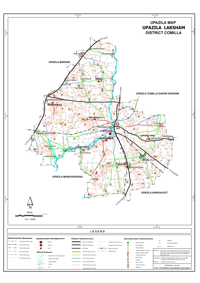 Laksham Upazila Map Comilla District Bangladesh