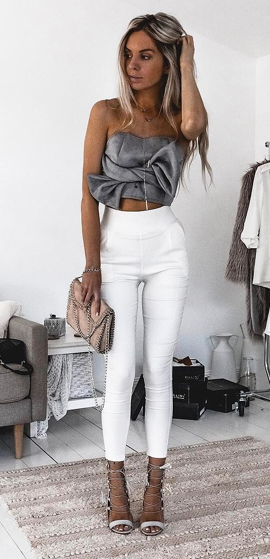 fashion trends outfit: crop top + skinny pants + heels
