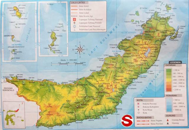 Peta Atlas Provinsi Sulawesi Utara di bawah ini mencakup peta dataran Peta Atlas Provinsi Sulawesi Utara