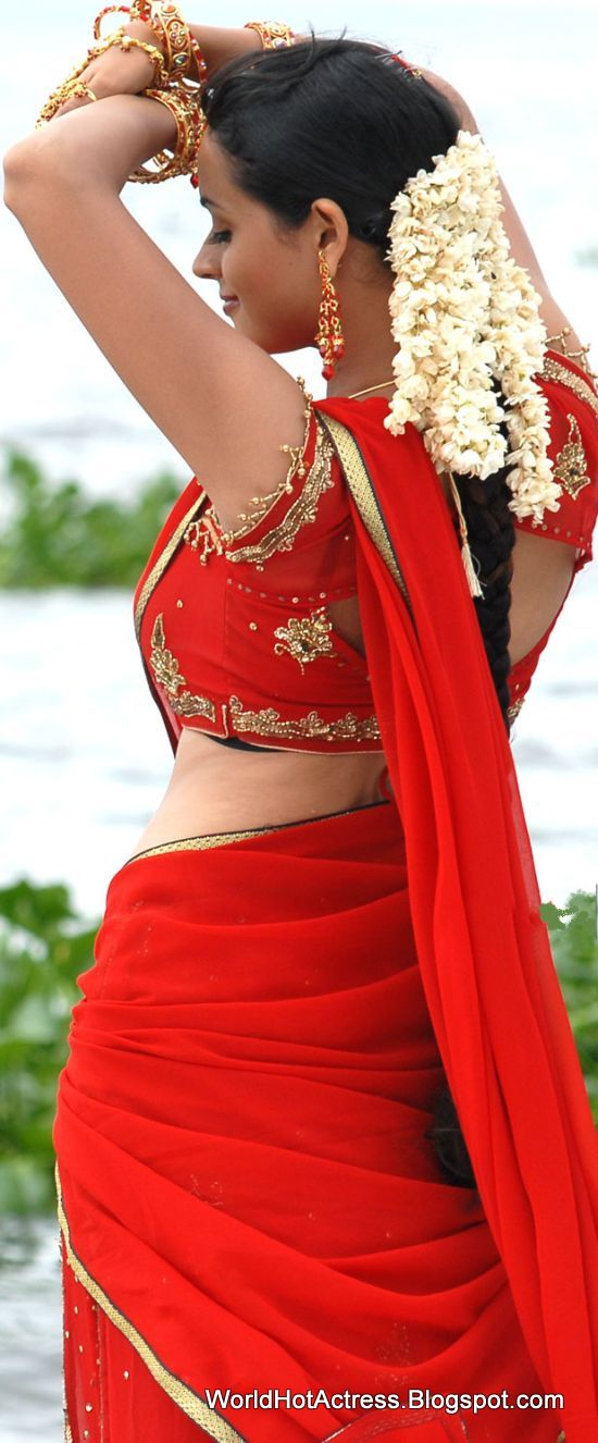 only actress bhavana back show in red saree at mahatma