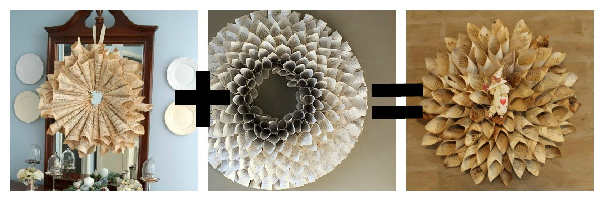 Pottery barn book page wreath tutorials