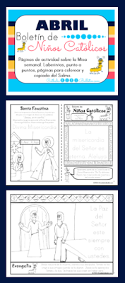April Catholic Kids Bulletins in Spanish and English