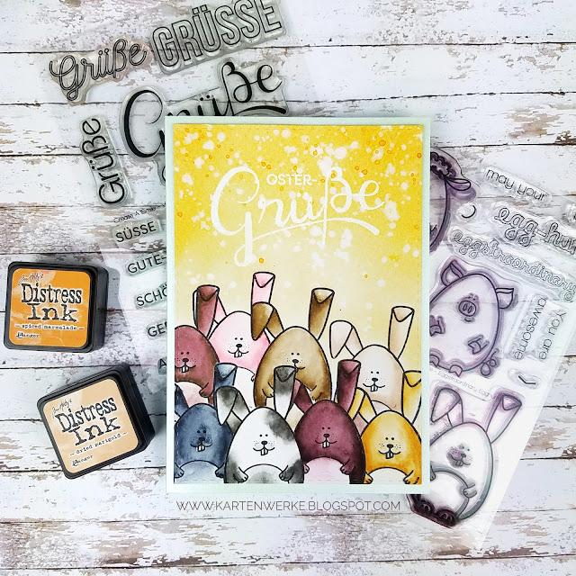 Kartenwerke: Osterkarte mit Hasen von Create a Smile koloriert mit Aqua Markern