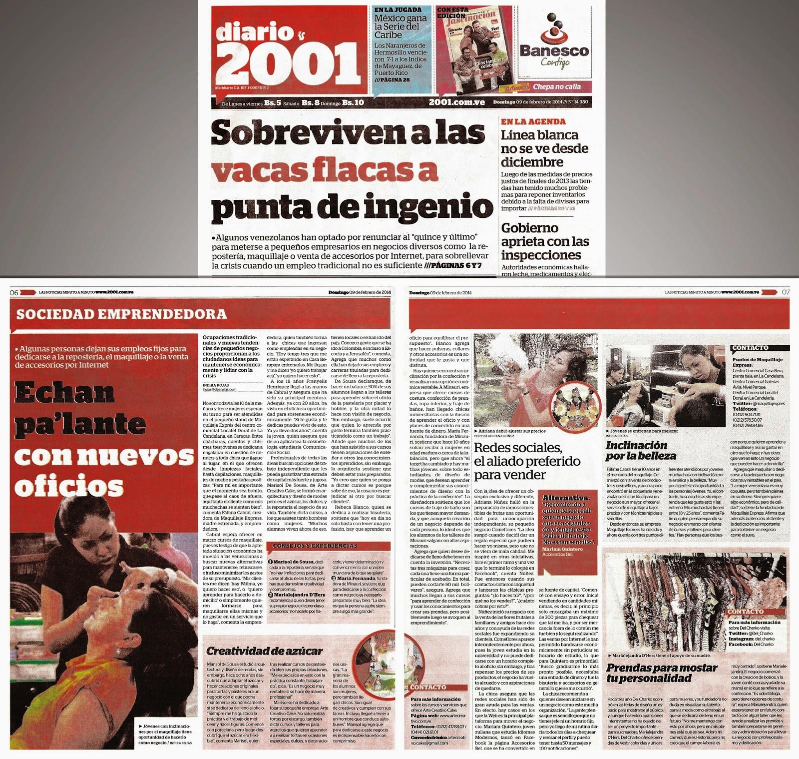 Diario 2001 - Indira Rojas - 09 Febrero 2014 - Manualistas y Artesanos