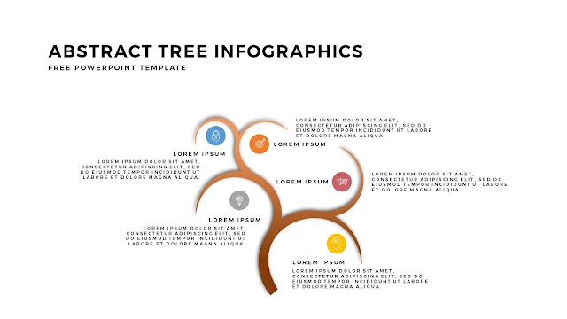 Abstract Tree PowerPoint Template with 5 Number Option in White Background