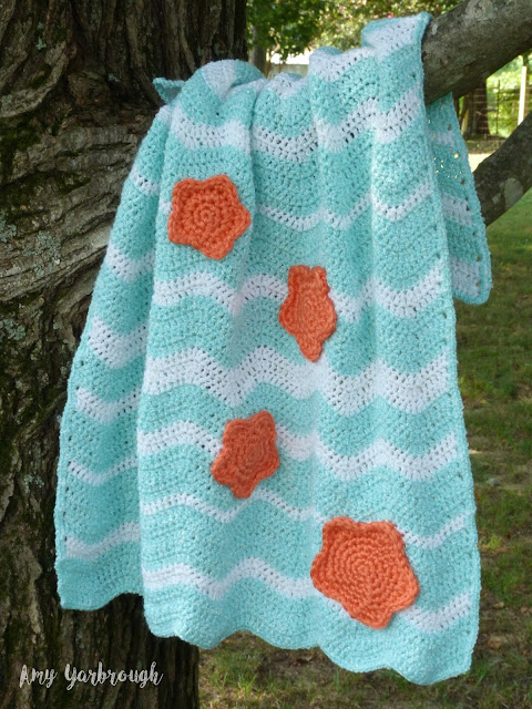 Surf and Sea Star Baby Blanket