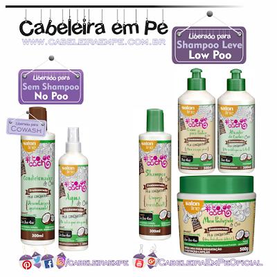 Composição linha vegana de Coco Salon Line (Condicionador e Água de Coco Liberados para No Poo, Shampoo, Máscara e finalizadores liberados para Low Poo)