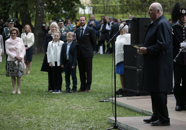 King Harald, Queen Sonja, Princess Astrid, Crown Princess Mette-Marit, Crown Prince Haakon, Prince Sverre Magnus and Princess Ingrid Alexandra attended the opening of The Princess Ingrid Alexandra Sculpture Park