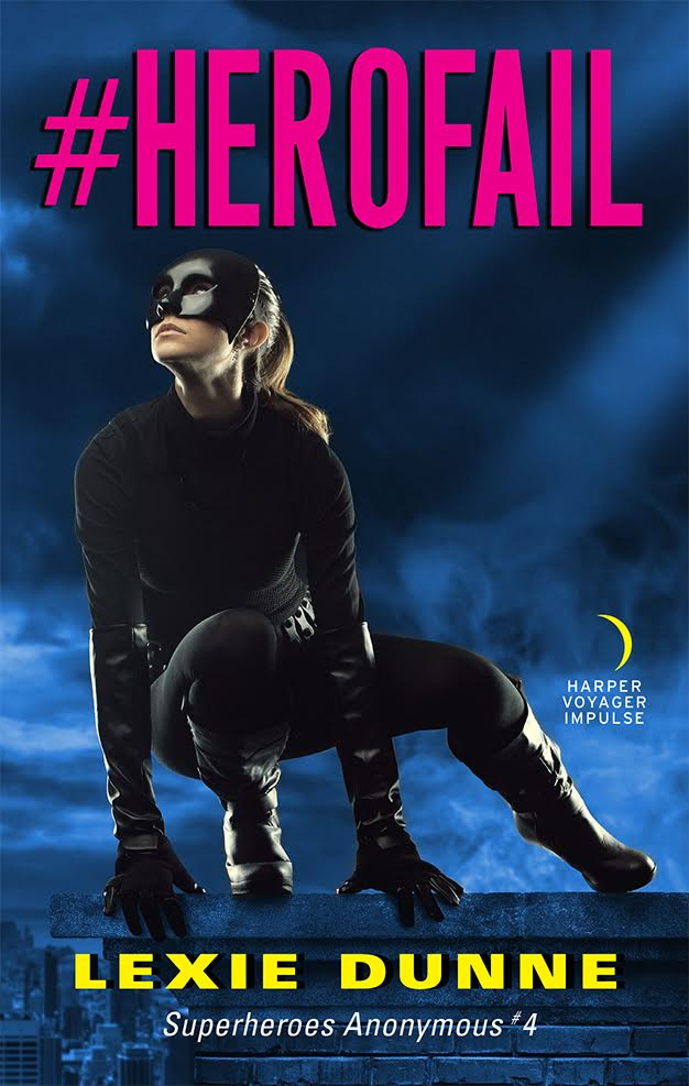 gail 4 cover. gail crouches over a dark cityscape background. at the top, tilted font reads #HEROFAIL