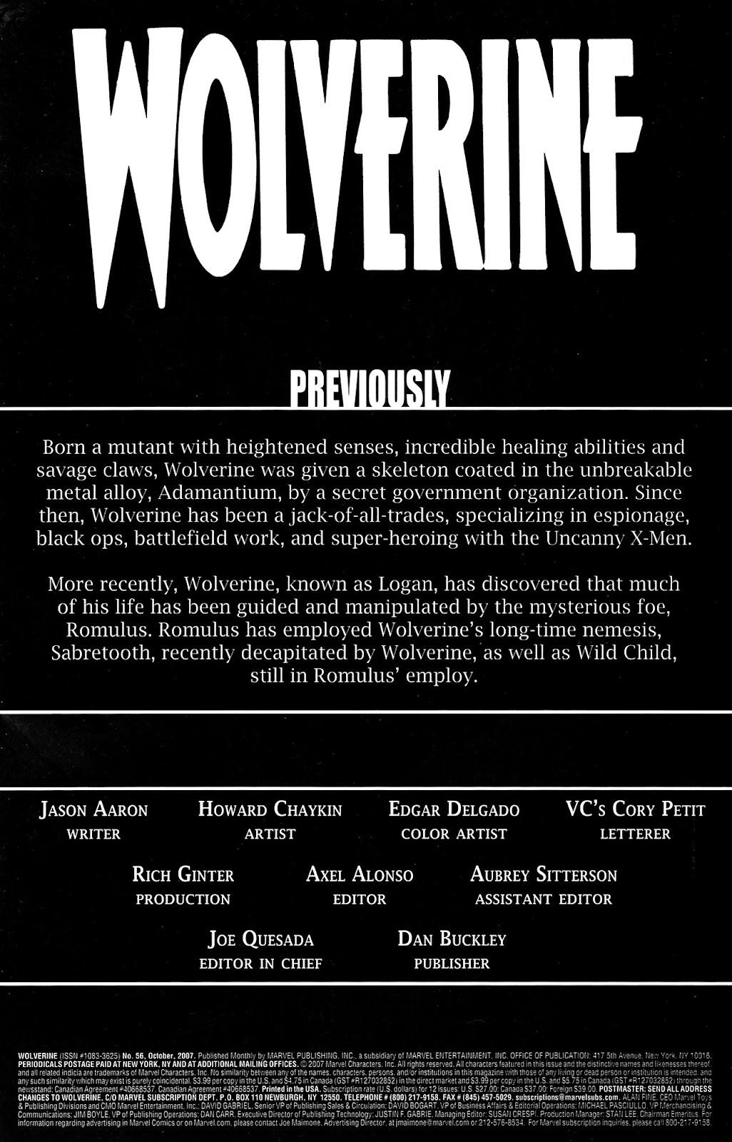 Read online Wolverine (2003) comic -  Issue #56 - 2