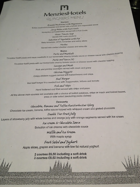 Children's menu at Menzies Derby Mickleover Court Hotel