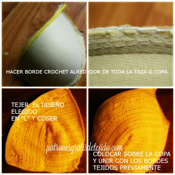como armar corpiño a crochet con push up