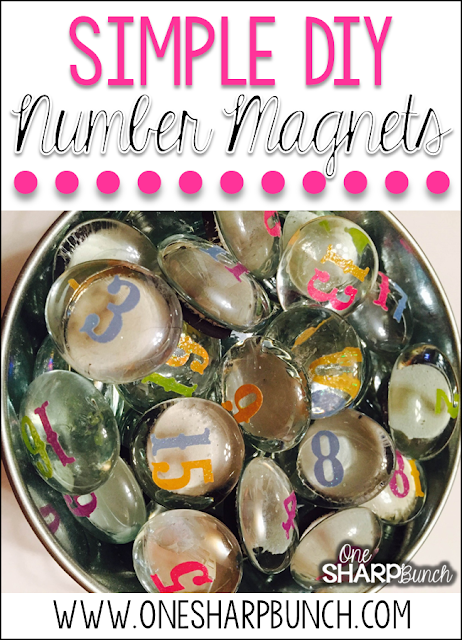 DIY Number Magnets - This simple DIY classroom project is perfect for your calendar and morning meeting area!  Have your students use them to mark attendance or lunch count.  Plus, you'll definitely want to see how we use these number rocks for classroom management!