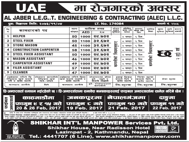Jobs in UAE for Nepali, Salary Rs 32,672