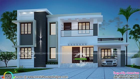 1989 square feet 4 bedroom flat roof contemporary house plan