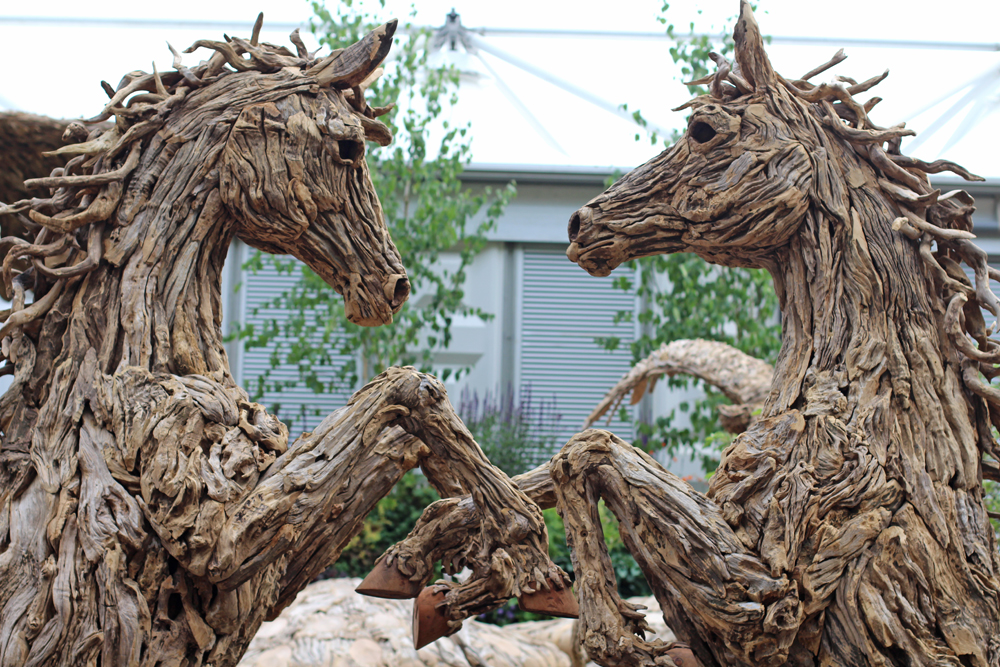 Wooden horses at Chelsea Flower Show 2018 - London lifestyle blog