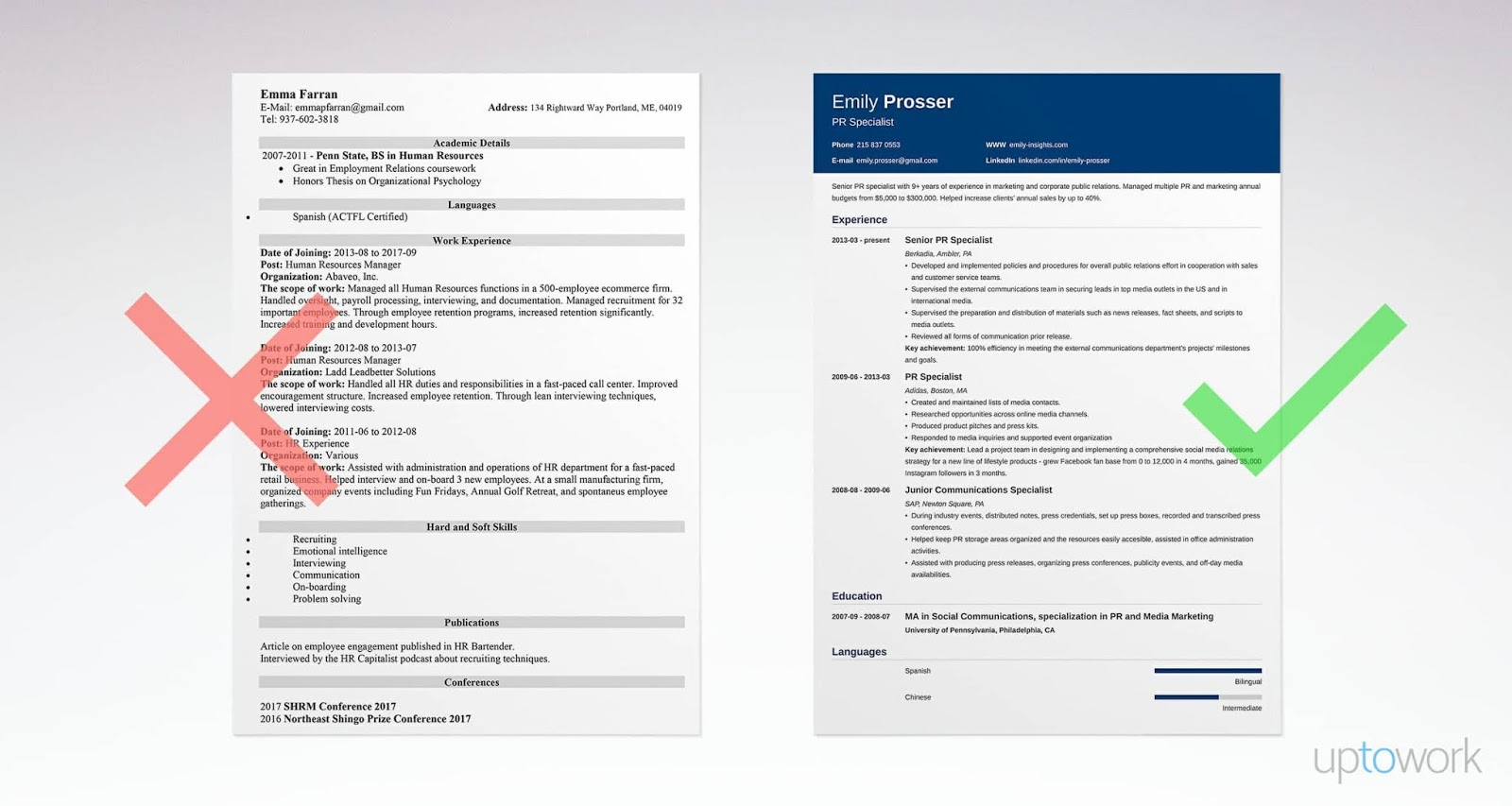 examples of attractive resumes for jobs