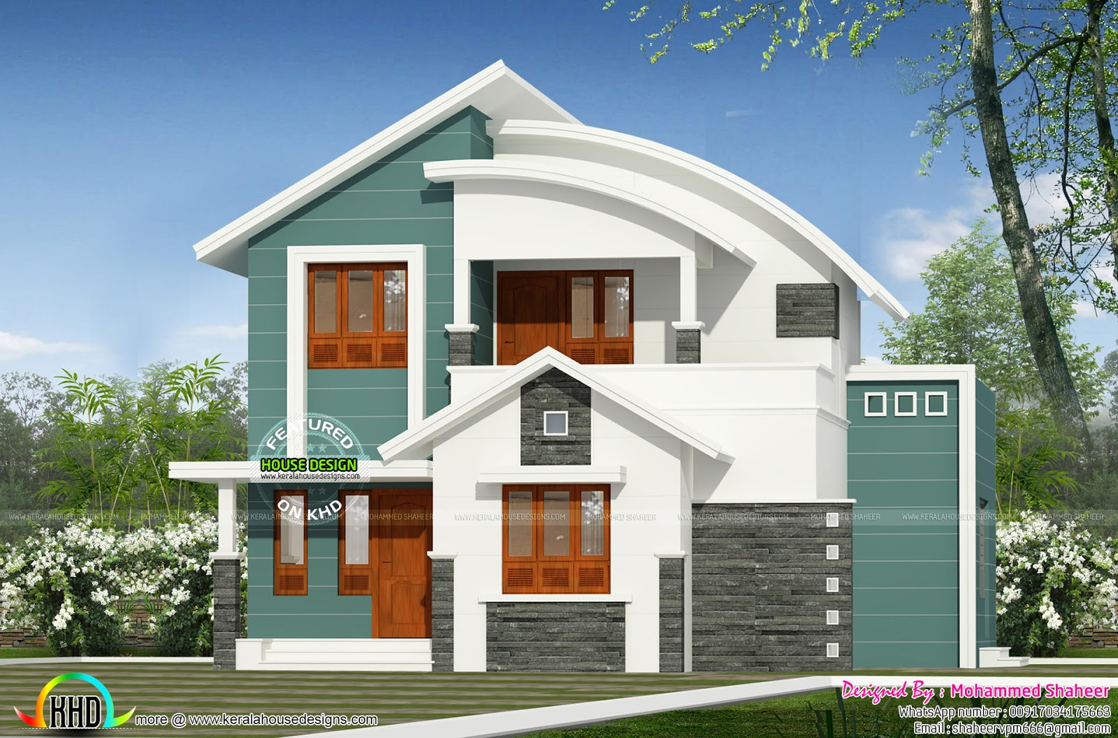Modern curved roof mix home kerala home design and floor for Curved roof house plans