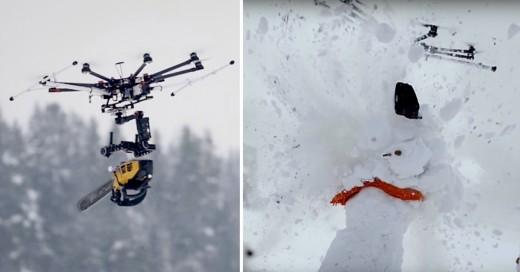 Este es el Drone Asesino, con una sierra eléctrica colgando