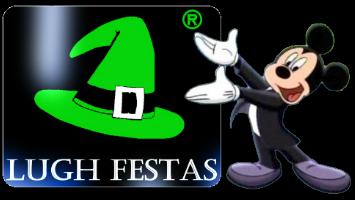 Mickey Mouse com o logo Lugh Festas