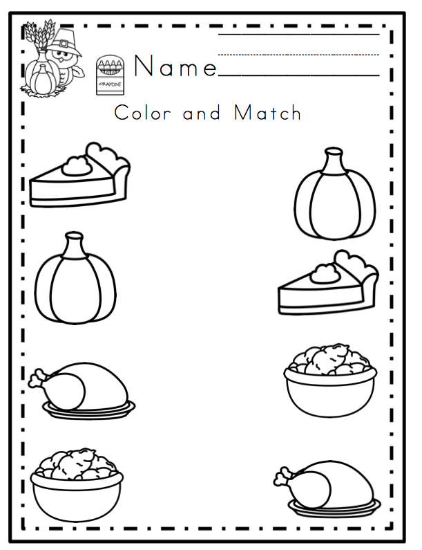 Preschool Printables: Thanksgiving Printable No Prep