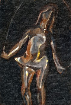 Oil painting of a cast aluminium sculpture of a girl skipping with a rope.
