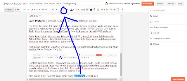 Cara Membuat Tulisan Bergaris Bawah Di Postingan Blogger
