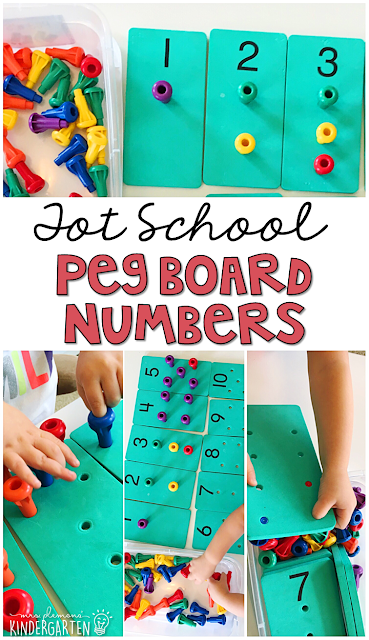 Peg Board Numbers are fun for number identification, counting, and fine motor practice with a Chicka Chicka 123 theme. Great for tot school, preschool, or even kindergarten!