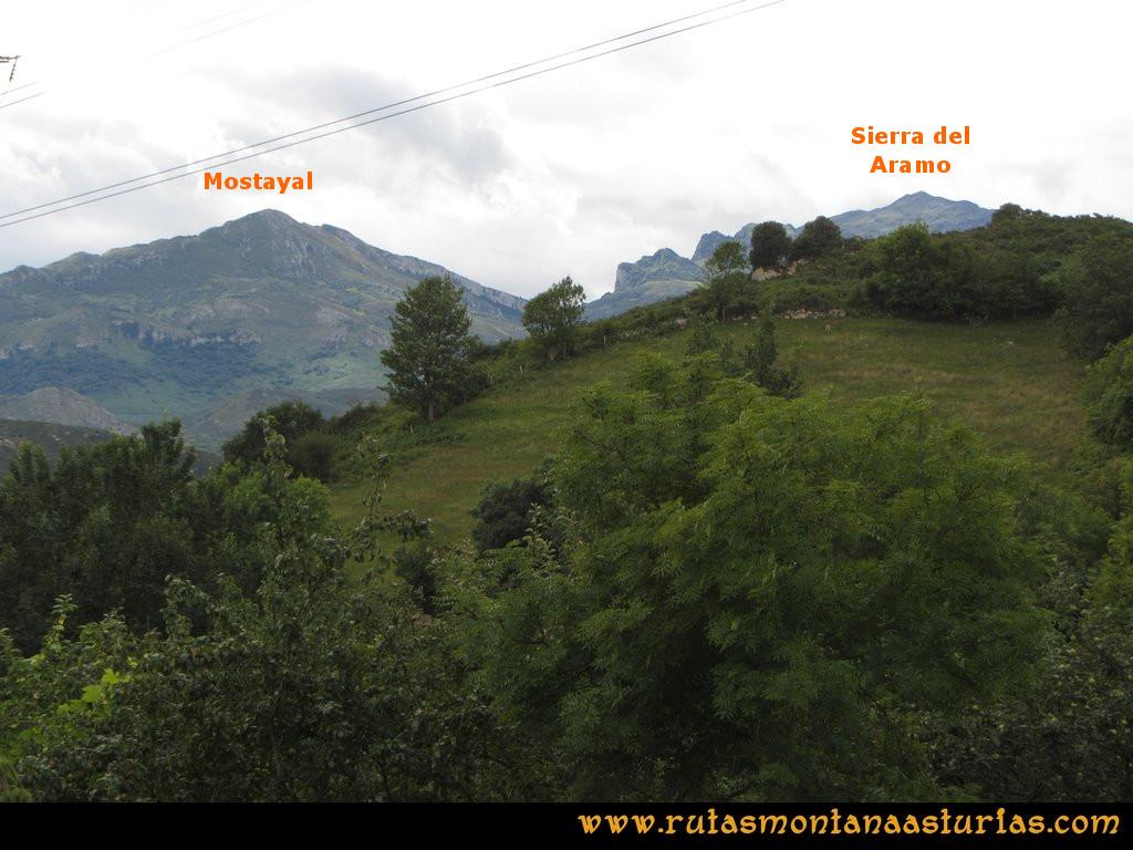 Ruta Cascadas Guanga, Castiello, el Oso: Vista de la Mostayal y comienzo de la Sierra del Aramo