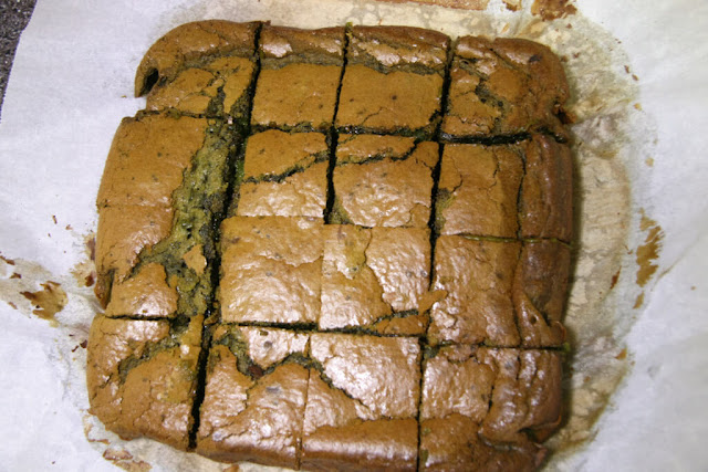 Mochi Matcha Cake cut into squares.
