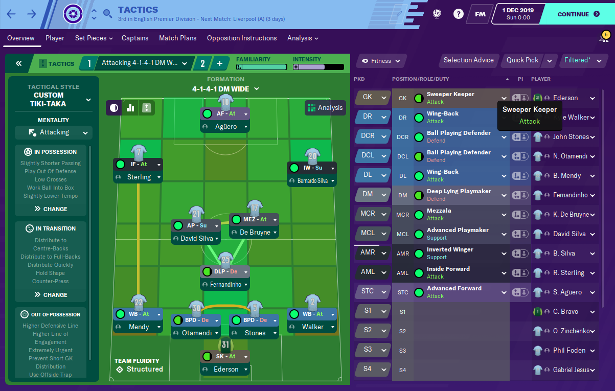 Man City tactic - 4-3-3 - Tiki Taka - Formation FM20