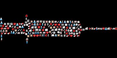 imagen de una jeringa en formato dibujo realizada con miniaturas de dibujos de tema sanitario: ambulancias, gotitas,