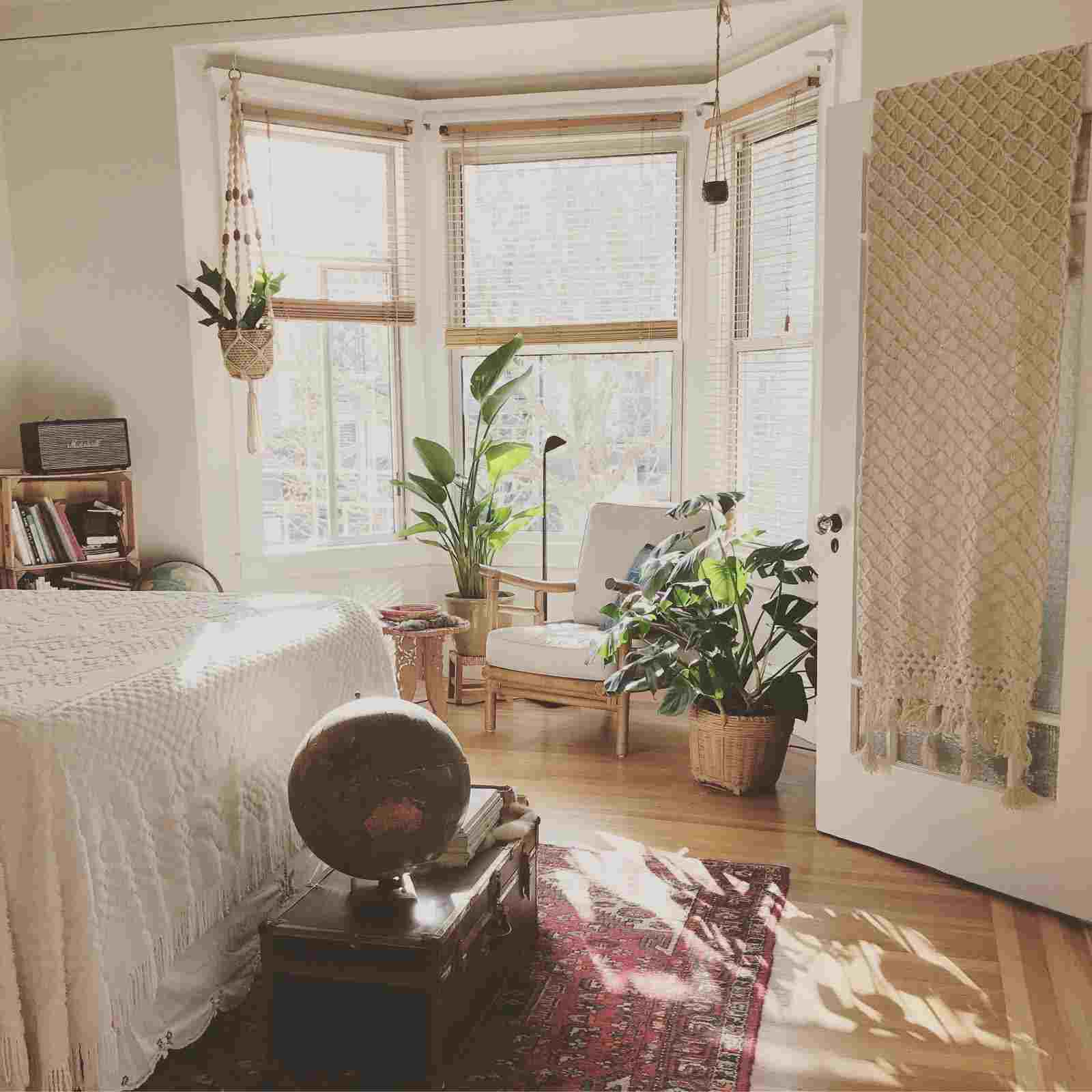 plants and tall windows in bedroom which is light and bright