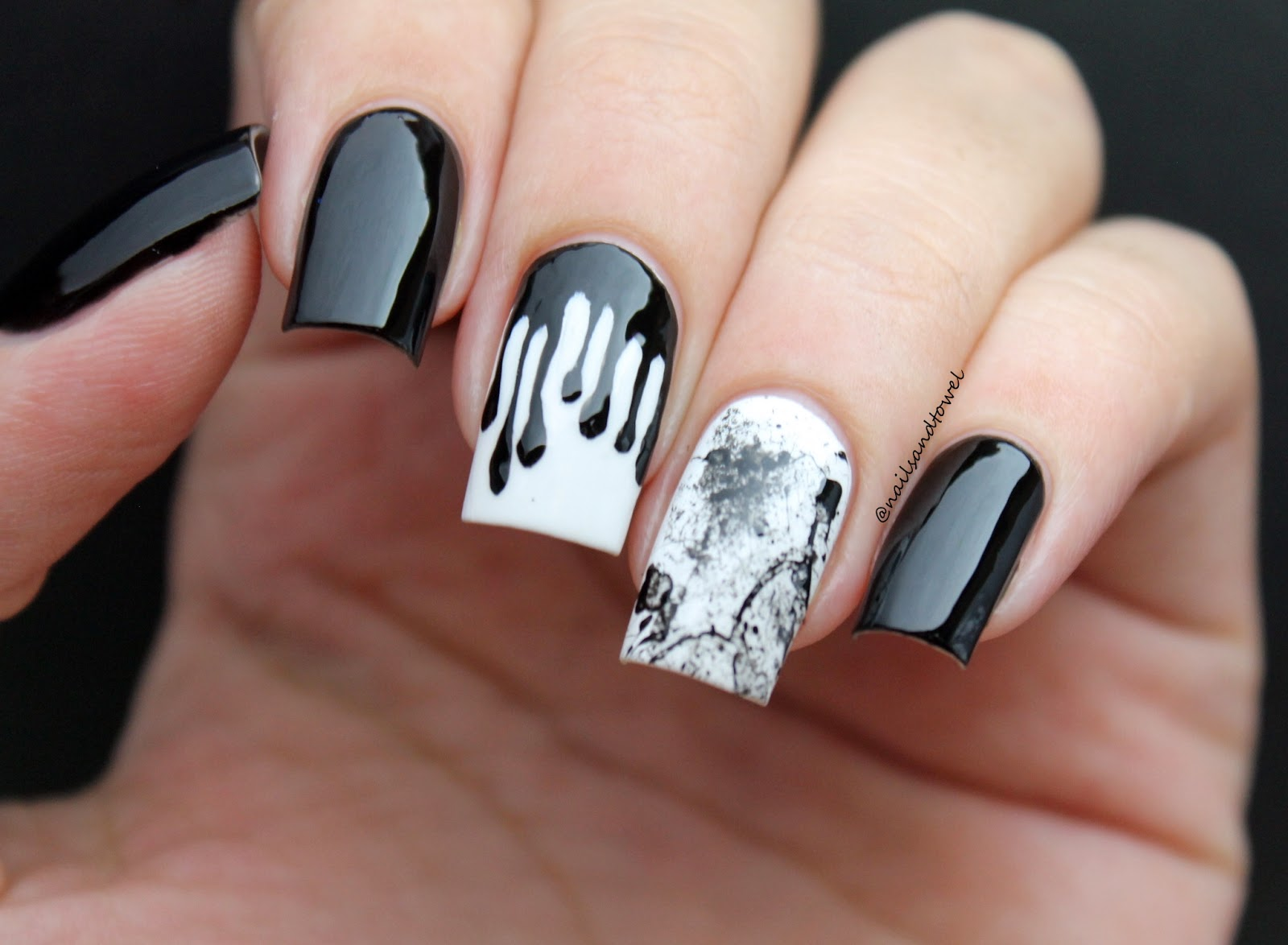 My Nail Art Journal Black White Dripping Paint Nails Inspired
