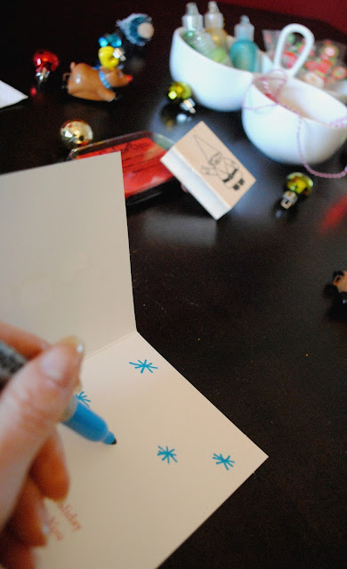 Gather friends and embellish your Christmas cards. See the whole party at FizzyParty.com