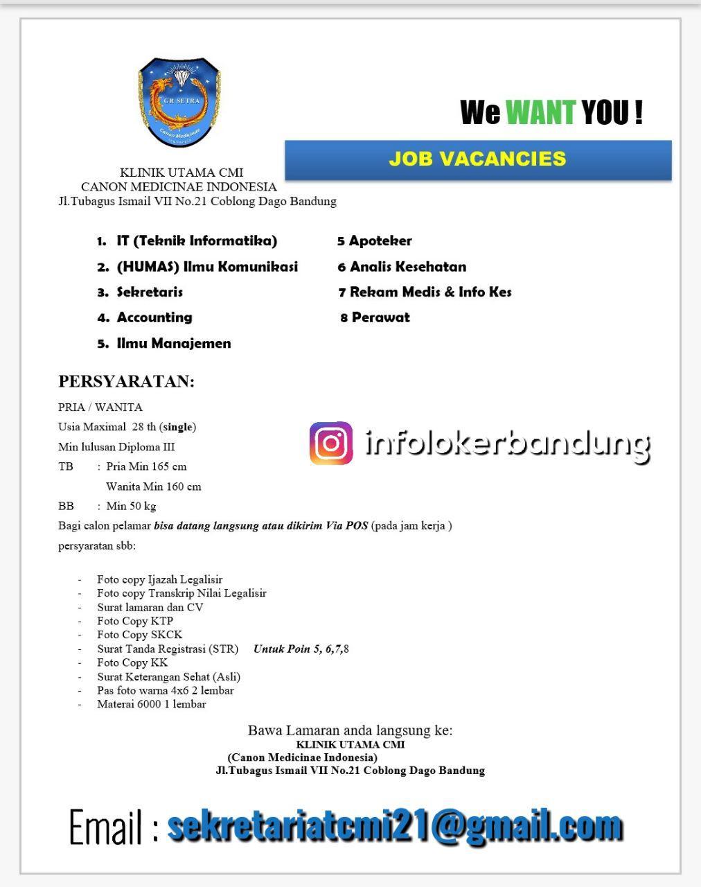 Lowongan Kerja Klinik Utama CMI ( Canon Medicinae Indonesia ) Bandung Januari 2018