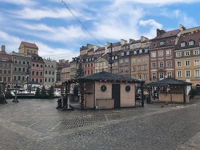 warsaw old town with market huts
