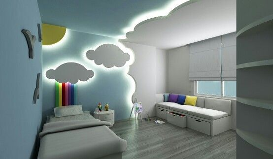 Gypsum Board Ceiling And Wall Design For Kids Bedroom