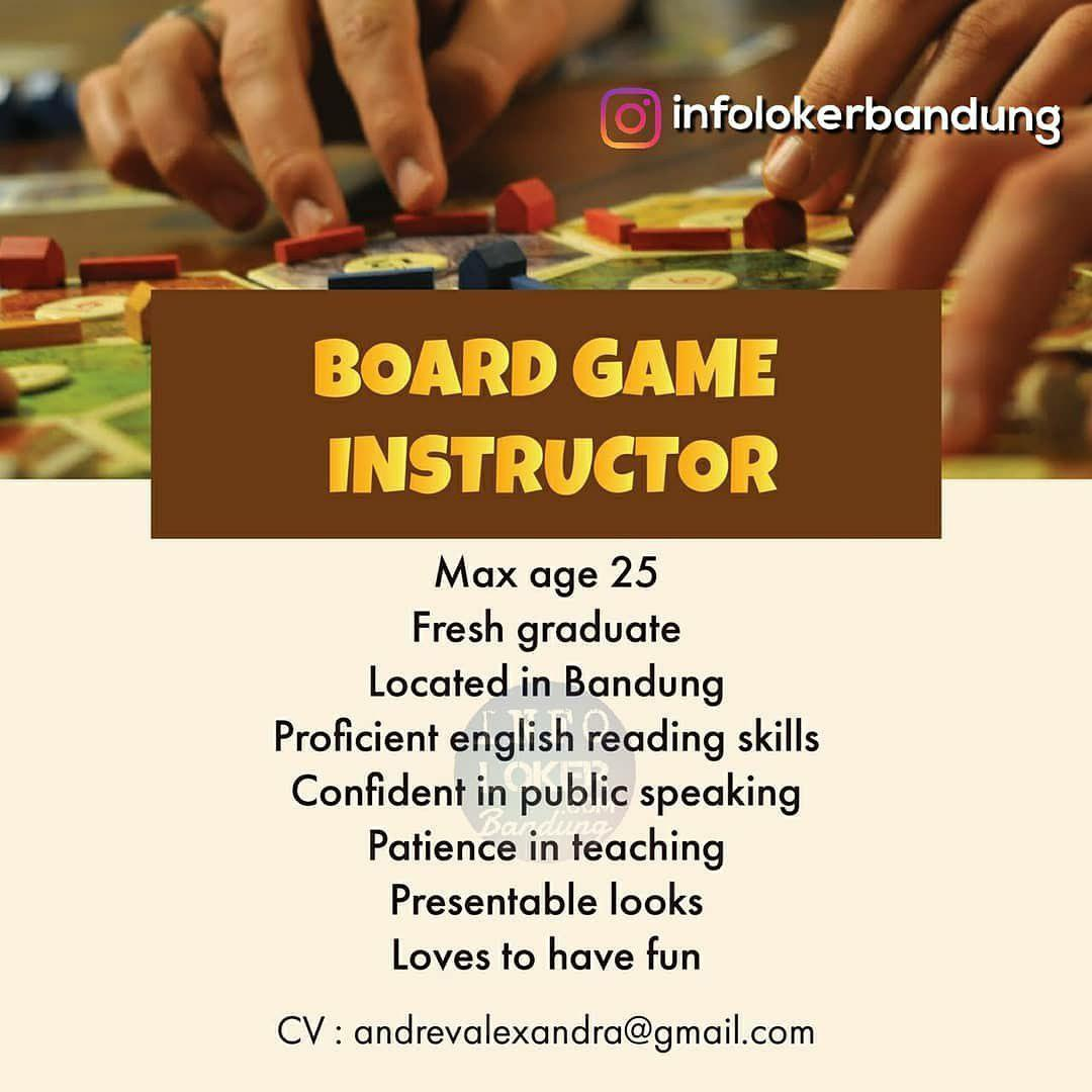 Lowongan Kerja Board Game Instructor Bandung September 2018