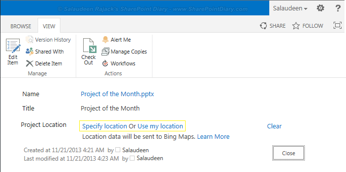 sharepoint 2013 geolocation column