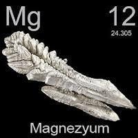 Magnezyum elementi üzerinde magnezyumun simgesi, atom numarası ve atom ağırlığı.
