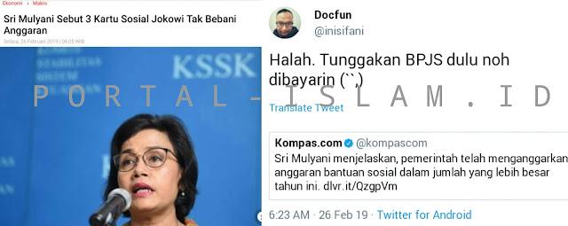 MAKJLEB! Menkeu Sri Sebut Kartu Jokowi Tak Bebani Anggaran, Dokter @inisifani: Bayar Dulu Tunggakan BPJS