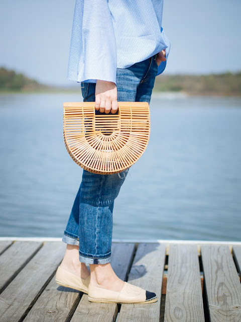 Blogger Style : Outfits for a day at the lakeside {Bell Sleeves Shirt & Vintage Straw bag}