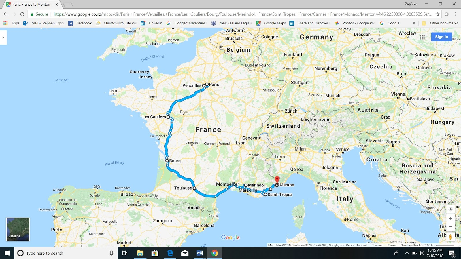 us travelling in the right direction here is roughly the route we took although in many cases we avoided the motorways and took the secondary roads