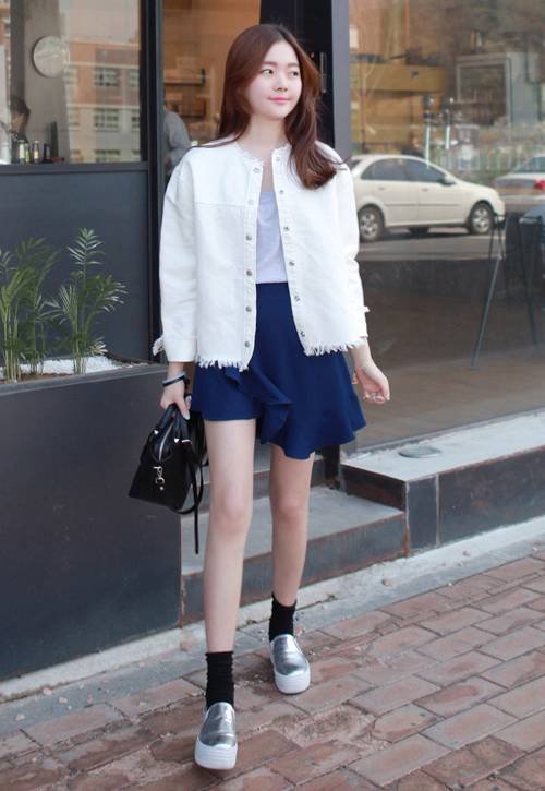 Frayed Snap Front Jacket