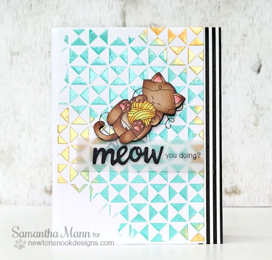 Cat and Yarn Card by Samantha Mann | Newton Unwinds Stamp Set & Die Set by Newton's Nook Designs #newtonsnook