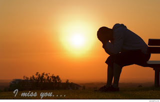 rising sun sad man sitting on the bench with i miss you pic